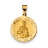 Satin Saint Brigid Hollow Medal Pendant 14k Gold Polished MPN: XR1681