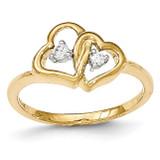 Diamond Double Heart Ring 14k Gold MPN: Y13162AA