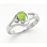 Peridot Diamond Ring 14k white Gold 6x4mm Pear MPN: Y2071PE/A UPC: 883957690490