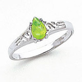 Peridot Ring 14k white Gold 6x4mm Pear MPN: Y2101PE UPC: 883957710730