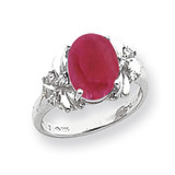 10x8mm Oval Created Ruby Diamond Ring 14k white Gold MPN: Y2240CR/A UPC: 883957618234