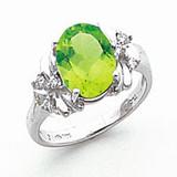 10x8mm Oval Peridot Diamond Ring 14k white Gold MPN: Y2240PE/A UPC: 883957618463