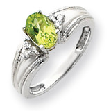 Peridot Diamond Ring 14k white Gold 7x5mm Oval MPN: Y4450PE/A UPC: 883957394879