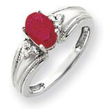 Ruby Diamond Ring 14k white Gold 7x5mm Oval MPN: Y4450R/A UPC: 883957395470