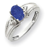 Sapphire Diamond Ring 14k white Gold 7x5mm Oval MPN: Y4450S/A UPC: 883957395593