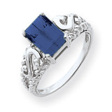 Sapphire Ring 14k white Gold 8x6mm Emerald Cut MPN: Y4678S UPC: 883957592220