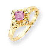 4mm Princess Cut Pink Tourmaline Diamond Ring 14k Gold MPN: Y4701PT/A UPC: 883957581217