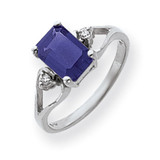 Sapphire Diamond Ring 14k white Gold 8x6mm Emerald Cut MPN: Y4750S/A UPC: 883957670669