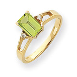 Peridot Diamond Ring 14k Gold 7x5mm Emerald Cut MPN: Y4757PE/A UPC: 883957664811