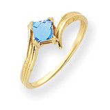 Blue Topaz Ring 14k Gold 4mm Princess Cut MPN: Y4781BT UPC: 883957663111