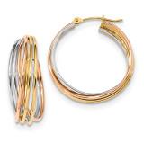 Fancy Hollow Tube Hoops Earrings 14k Tri-Color Gold MPN: YE1777