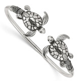 Antiqued Sea Turtles Flexible Bangle Sterling Silver Polished MPN: QB1162