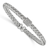 Rhodium-plated with CZ Braided Cuff Bangle Sterling Silver Polished MPN: QB949