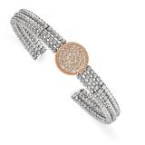 Rose Rhodium-plated 3-strand Beaded Swarovski Crystal Cuff Sterling Silver MPN: QB980