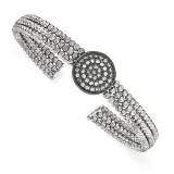 Black Rhodium-plated 3-strand Beaded Swarovski Crystal Cuff Sterling Silver MPN: QB981