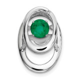 Created Emerald Birthstone Vibrant Pendant Sterling Silver Rhodium MPN: QBPD32MAY