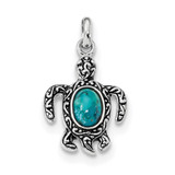 Sterling Silver Rhodium/Oxidized Reconstituted Turquoise Turtle Pendant Sterling Silver Rhodium MPN: QC9279