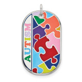 Autism Dog Tag Pendant Sterling Silver Rhodium-plated Enameled MPN: QC9339