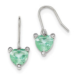 Heart with Synthetic Green Spinel Dangle Earrings Sterling Silver Polished MPN: QE12402