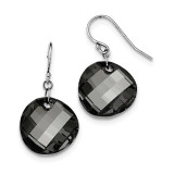 Black Wavy Swarovski Elements Earrings Sterling Silver Rhodium MPN: QE12539
