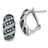 Light Swiss Blue Topaz Omega Back Earrings Sterling Silver Rhodium MPN: QE12629BT, UPC: 191101048463