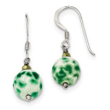 Green Agate and Gold Crystal Earrings Sterling Silver MPN: QE12836