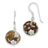 Brown Crack Agate with Shell Earrings Sterling Silver MPN: QE12858