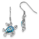 Blue Created Opal Turtle Earrings Sterling Silver Rhodium-plated MPN: QE14038
