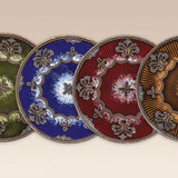 Tizo Round Floral Jeweled Coaster - Brown