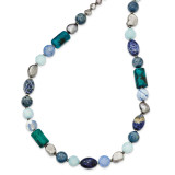 FW Cultured Pearl Amazonite Coral Agate Glass Jasper Sodalite Necklace 23 Inch Sterling Silver MPN: QH5268-23