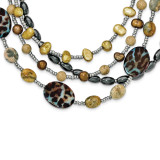 Brown Freshwater Cultured Pearl Mother of Pearl Jasper Crystal Hematite,with 2 ext Necklace 18 Inch Sterling Silver MPN: QH5296-18
