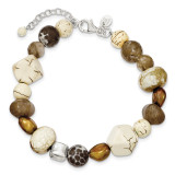 Brown Freshwater Cultured Pearl Mother of Pearl Agate Magnesite and Quartz with 1 ext Bracelet 7.5 Inch Sterling Silver MPN: QH5298-7.5