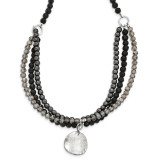 Black and Smoky Crystal Hematite Hammered Disc Necklace 16 Inch Sterling Silver MPN: QH5300-16, UPC: 191101468414