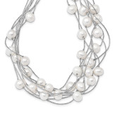 8-10mm Wt Rice Cultured Freshwater Pearl Multi-strand Necklace 18 Inch Sterling Silver Rhodium-plated MPN: QH5408-18