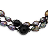Freshwater Cultured Pearl/Black Agate/Black Glass Beads Necklace 17.5 Inch Sterling Silver MPN: QH5428-17.5