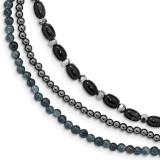 Black Agate Crystal Hematite Grey Quartz 3-Strand with 1 inch Extender Bracelet 7.5 Inch Sterling Silver MPN: QH5430-7.5