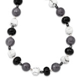 Black & Grey Agate Hematite Howlite Necklace 18.5 Inch Sterling Silver MPN: QH5431-18.5