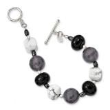 Black Grey Agate Hematite Howlite Bracelet 8 Inch Sterling Silver MPN: QH5431-8