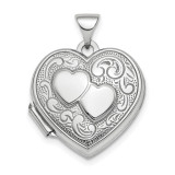 2-Heart Design 18mm Heart Locket Sterling Silver Rhodium-plated Polished MPN: QLS775