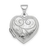 15mm Heart Patterned Locket Sterling Silver Rhodium-plated Polished MPN: QLS809