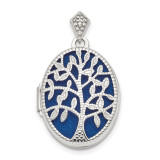 Polished & Textured Diamond Tree Locket Sterling Silver Rhodium MPN: QLS858
