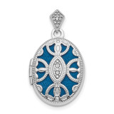 Textured Diamond Locket Sterling Silver Rhodium-plated Polished MPN: QLS859