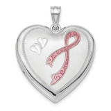 24mm Enameled Diamond-cut Pink Ribbon Ash Holder Sterling Silver Rhodium-plated MPN: QLS877