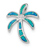 Created Blue Opal Palm Tree Slide Sterling Silver Rhodium MPN: QP4285