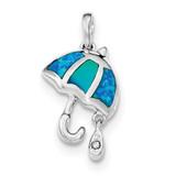 Created Blue Opal Umbrella with CZ Raindrop Pendant Sterling Silver Rhodium MPN: QP4286