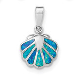 Created Blue Opal Oyster Pendant Sterling Silver Rhodium MPN: QP4295