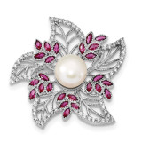 Sterling Silver RH10-11mm White Cultured Freshwater Pearl CZ Pink Corundum Pin Sterling Silver Rhodium-plated MPN: QP4766