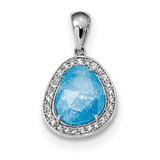 Blue Ice CZ Dangle Pendant Sterling Silver Rhodium-plated MPN: QP4818