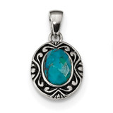 Sterling Silver Rhodium Oxidized with Reconstituted Turquoise Pendant Sterling Silver Rhodium MPN: QP4839