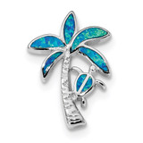 Blue Inlay Created Opal Palm Tree Slide Sterling Silver Rhodium-plated MPN: QP4862